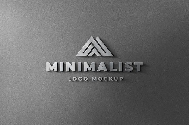 3d logo mockup realistic steel sign parede cinza escuro