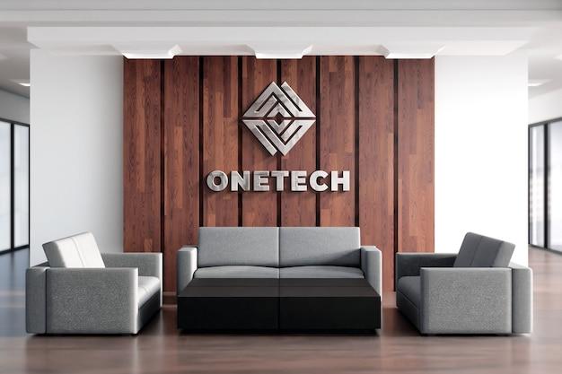 3d logo mockup sinal realístico escritório parede de madeira