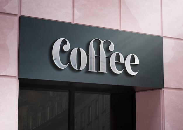 3d logotipo maquete fachada moderna placa cromada