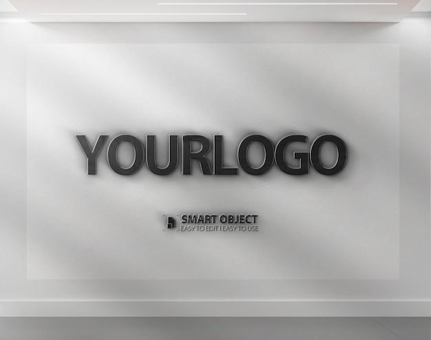 3d logotipo maquete realista parede branca escritório