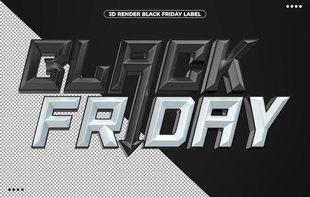3d logotipo preto e branco de sexta-feira para maquiagem