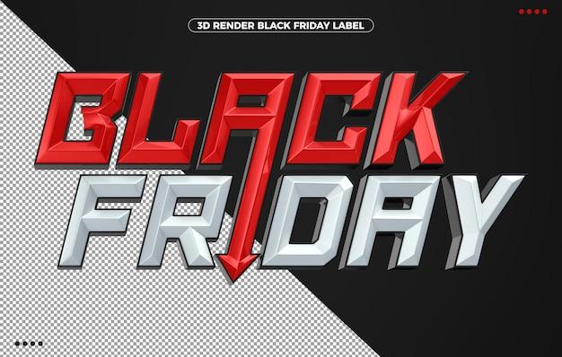 3d logotipo vermelho preto sexta-feira para maquiagem