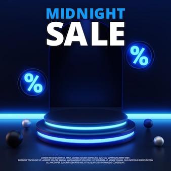 3d luz neon da meia-noite, pódio de vendas