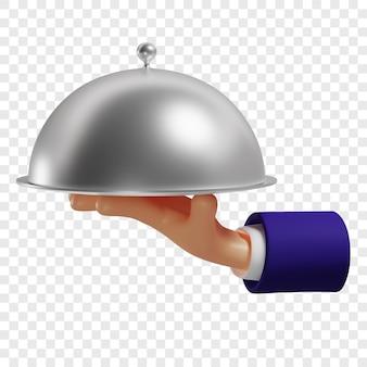 3d mão segurando um prato com tampa servindo pratos quentes isolados renderização em 3d