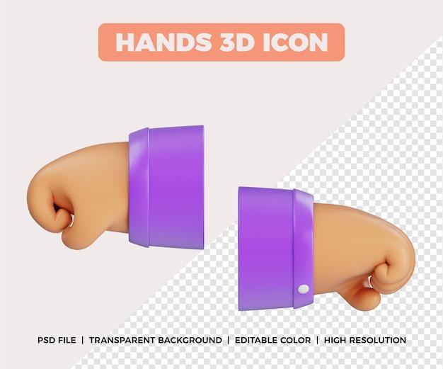 3d mãos punho gesto vista lateral