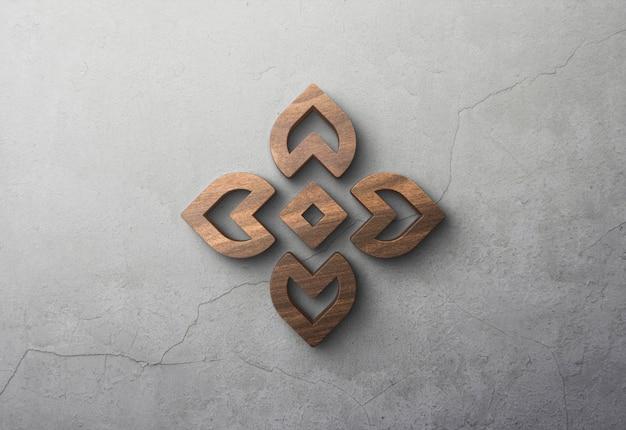 3d maquete de madeira logotipo na parede de concreto