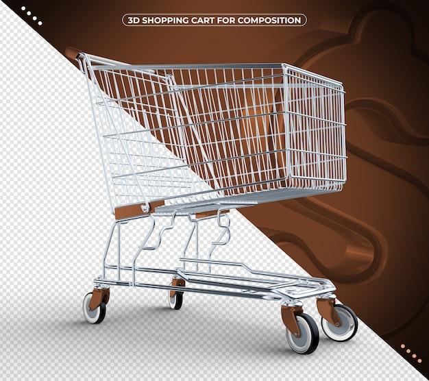 3d marrom isolado carrinho de compras isolado