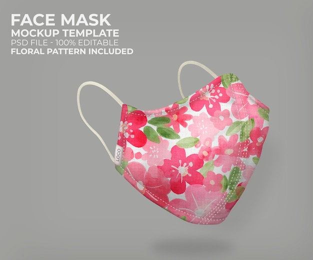 3d máscara floral mock up