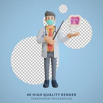 3d masculino médico usando uma máscara apresentando o interior da ilustração de design de personagens de dente
