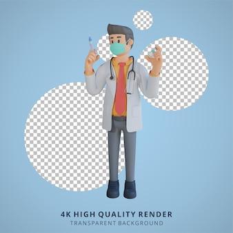 3d masculino médico usando uma máscara segurando uma ilustração de design de personagem de injeção de vacina
