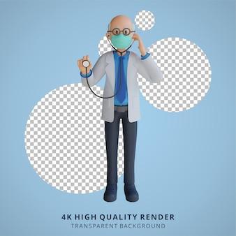 3d masculino sênior médico usando uma máscara segurando um estetoscópio ilustração de design de personagens