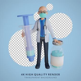 3d masculino sênior médico usando uma máscara segurando uma ilustração de design de personagem de injeção de vacina