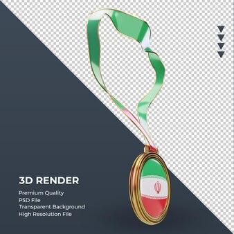 3d medalha bandeira do irã renderizando vista esquerda