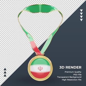 3d medalha bandeira do irã renderizando vista frontal