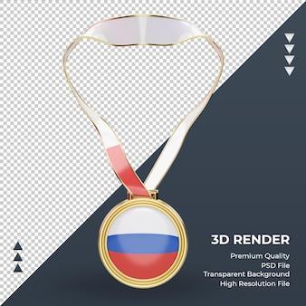 3d medalha da bandeira russa renderizando vista frontal