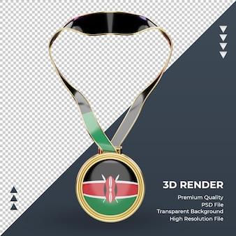 3d medalha de bandeira do quênia renderizando vista frontal