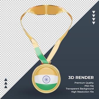 3d medalha índia bandeira renderizando vista frontal