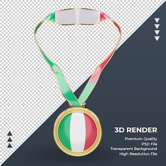3d medalha itália bandeira renderizando vista frontal