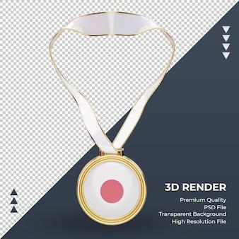 3d medalha japão bandeira renderizando vista frontal