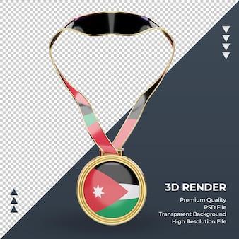 3d medalha jordan bandeira renderizando vista frontal