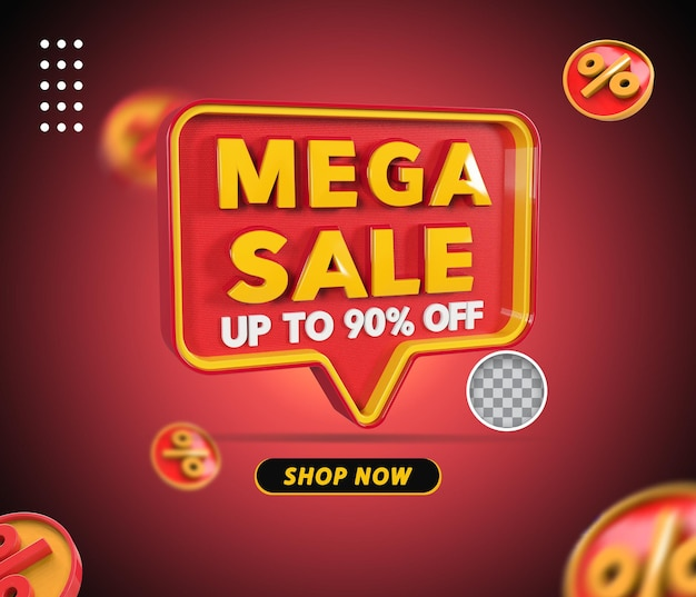 3d mega venda oferta de 90 por cento renderização Psd Premium
