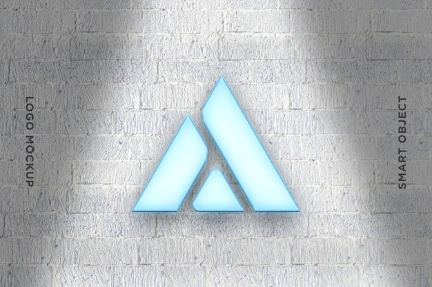 3d mockup logo neon na parede de tijolos-2