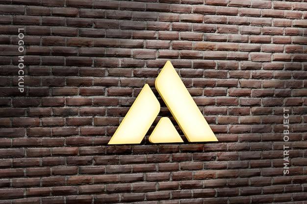3d mockup logo neon na parede de tijolos-3