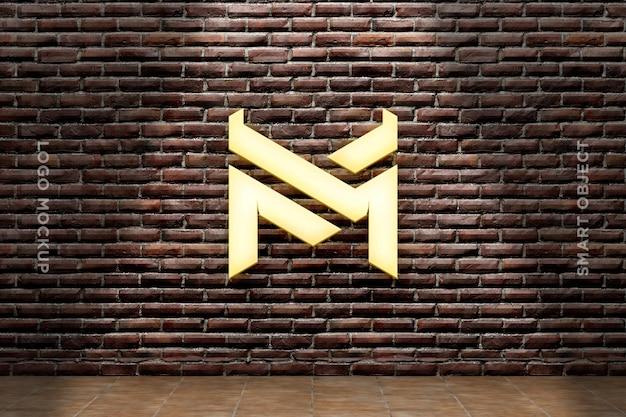3d mockup logo neon na parede de tijolos
