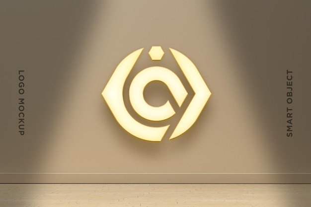 3d mockup logo neon na parede marrom