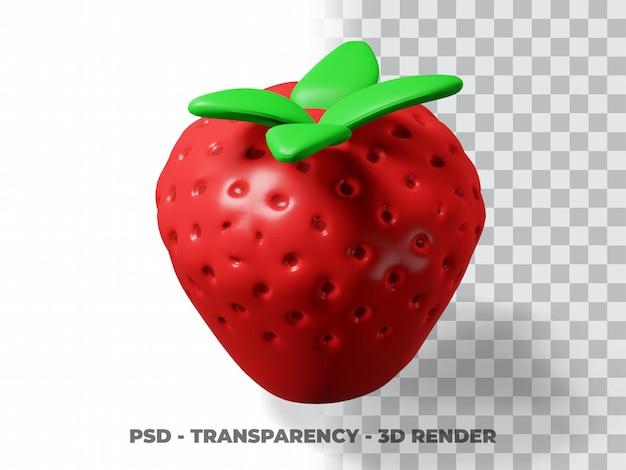 3d morango fofo com fundo transparente