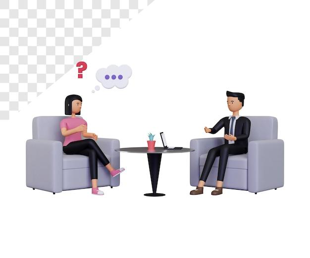 3d mulher em consulta com homem