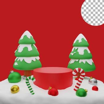 3d natal árvore bolas neve pódio fundo pós ilustração alta qualidade