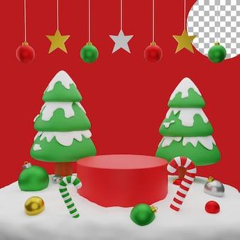 3d natal árvore bolas neve pódio pós ilustração alta qualidade