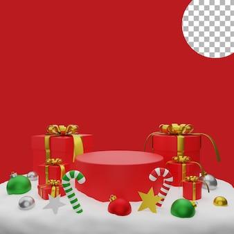 3d natal balls giftbox neve pódio post fundo ilustração alta qualidade