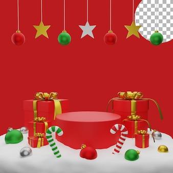 3d natal balls giftbox neve pódio post ilustração alta qualidade