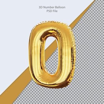3d número 0 balão dourado