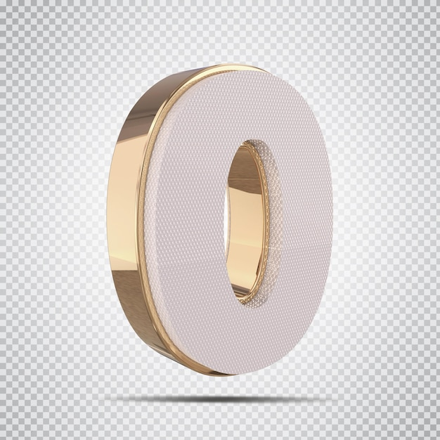 3d número 0 com renderização de estilo dourado
