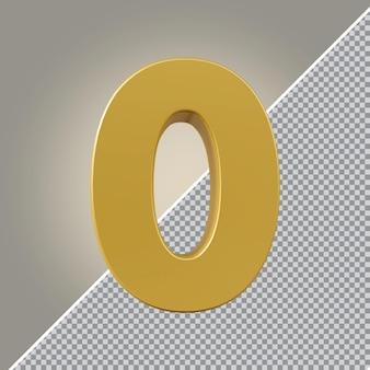 3d número 0 ouro luxo
