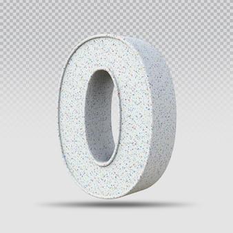 3d número 0 padrão de mármore