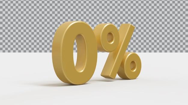 3d número 0 por cento dourado luxo render