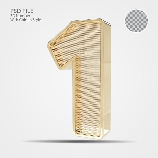 3d número 1 de ouro