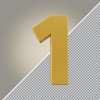 3d número 1 luxo dourado