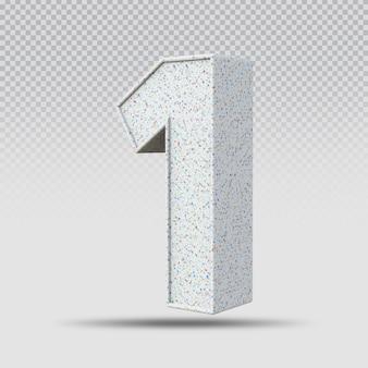 3d número 1 padrão de mármore