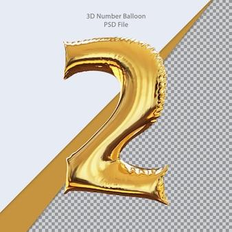 3d número 2 balão dourado