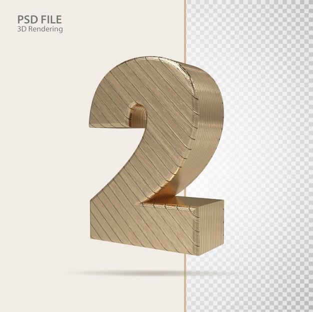 3d número 2 com estilo de luxo dourado