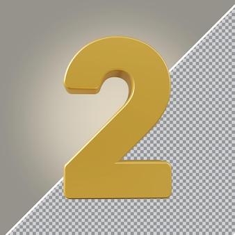 3d número 2 luxo dourado