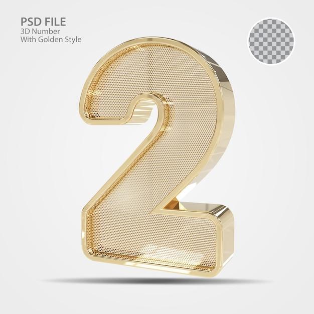 3d número 2 ouro