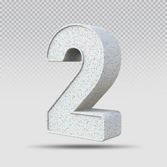 3d número 2 padrão de mármore
