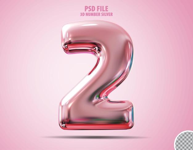 3d número 2 rosa luxo render