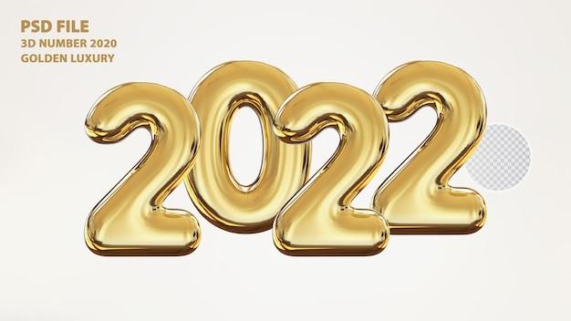 3d número 2022 luxo dourado